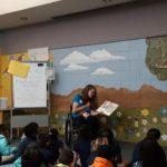 Jen Longdon reading to children at Brunson-Lee Elementary