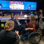 Jen Longdon chatting with supporter at Campaign Kickoff- November 6, 2019
