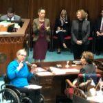 "Rep Jennifer Longdon signs word ""deaf"" on AZ House Floor on World Hearing Day - March 4, 2020 (Source: AZ Commn for Deaf and Hard of Hearing @AzCDHH)"
