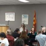 Rep. Jennifer Longdon addresses people at Arizona Council for the Blind - May 3, 2019