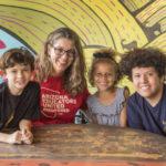 Jen Longdon with school children (Michael Ging)