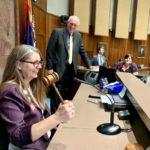 Rep Jennifer Longdon in AZ House Speakers Chair for Sine Die, May 27, 2019 (Source: AZ House Dems)