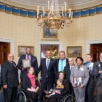 Jennifer Longdon at White House with other victims of gun violence and President Barack Obama 2016